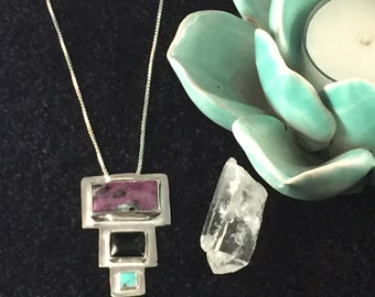 Ruby Zoisite, Onyx, Turquoise Squarted pendant