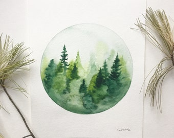 Green Pine Scene - Original Watercolor Painting