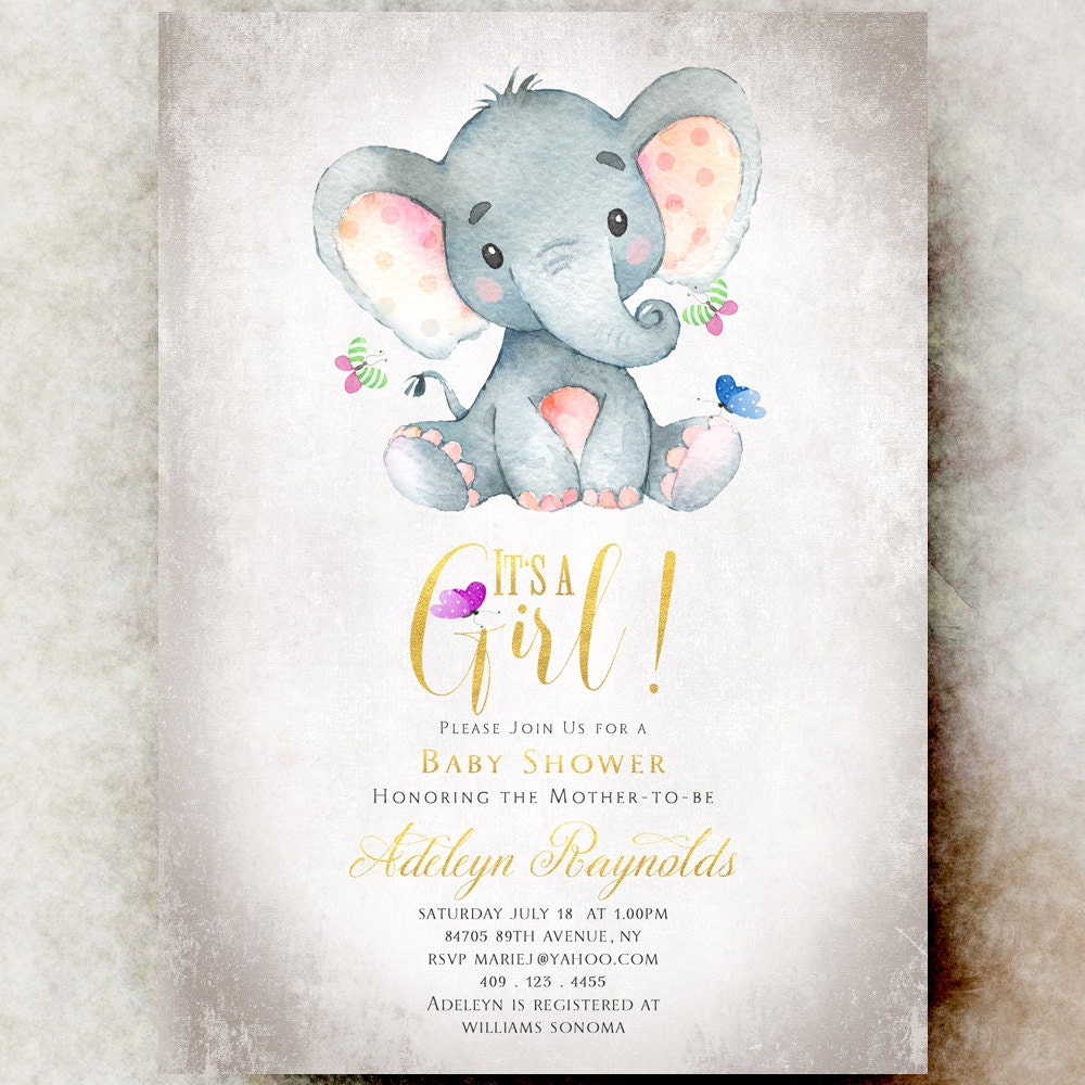 Elephant Baby shower invitation girl printable baby shower