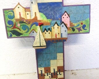 Blue Nautilus Lighthouse Sailboat Church Sky CROSS 5 5/8in x 9in by Jim Shore Heartwood Creek Heavy Pottery or Resin