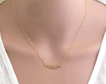 Gold triple heart necklace , gold filled heart necklace , gold heart connector ,gold heart pendant , dainty heart necklace , bridesmaid gift
