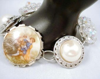 Earring Bracelet Repurposed Vintage Wedding