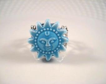 Blue Ceramic Sun Ring Silver Filigree Adjustable Summer Beach Ocean Jewelry