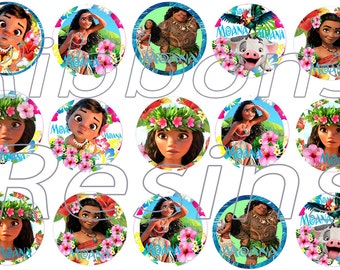 "50%  SALE INSTANT DOWNLOAD- Moana  Digital Bottle Cap Images - 1"" Bottle Cap Images 4x6-  Buy 2 get 1 Free"