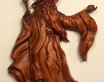 Wizard Wood Carving, Wood Wizard Spirit, Wood Carving, Old Man Spirit Sculpture, Halloween Gothic Decor, 10 x 7 inch, Birch Wood Mahogany