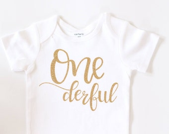 Baby Girl Clothes, ONE first birthday bodysuit, ONE derful, wonderful onesie  cake smash Outfit, Gold Birthday outfit, Birthday girl