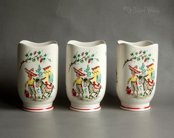 Three Vintage 1950s Crown Ducal Mexican Little Pedro & Donkey Vases
