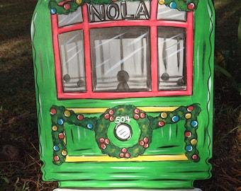 Christmas Door Hanger, Streetcar, NOLA, New Orleans, Holidays, Merry Christmas, Holly, Santa, Louisiana