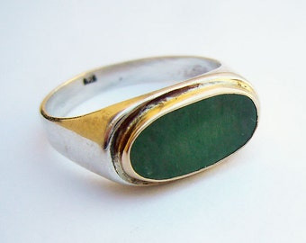 Aventurine Signet Ring, Silver and 14k Gold Green Signet Ring, Green Stone Ring, Israeli Jewelry, Green Gemstone Ring, Israeli Rings,