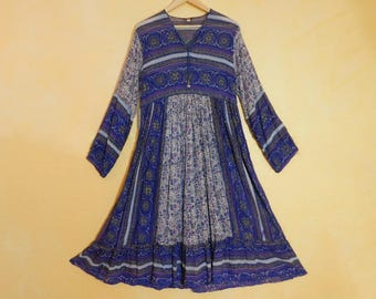 India Gauze Beach Chic Bohemia Summer 70s nos Blue Violet Block Print Hippie Dress~ Made in India~ US Womens Large ~ See Dimensions-