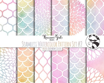 Seamless Watercolor Pattern Set #2 in Pastel Rainbow Colors Digital Paper Set - Personal & Commercial Use
