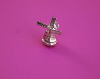 Silver Charm Windmill 3D Mechanical Moving Pendant Necklace Jewelry