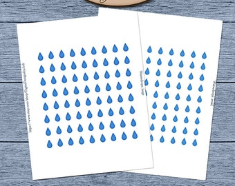 Digital Daily Planner Printable Waterdrop Sticker Sheets