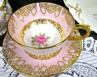 Windsor tea cup and saucer pink teacup with pink rose and gold gilt work