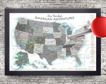 Usa map pin board etsy usa national parks pin board map black and white edition usa travel map gumiabroncs Image collections