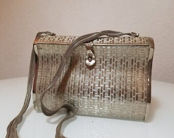 FREE  SHIPPING  Silver Metal Box Handbag