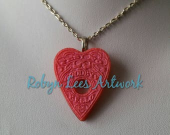 Small Metallic Pink Red Resin Detailed Ouija Board Planchette Necklace on Silver, Bronze or Gold Crossed Chain or Black Faux Suede Cord