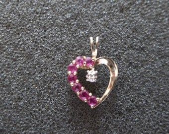 10K Yellow gold heart Pendant with red Garnet stones