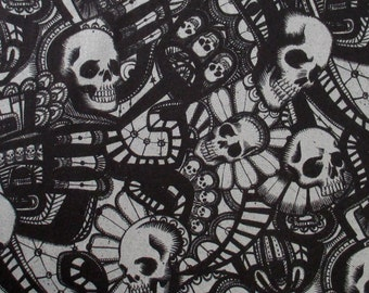Skull Fabric, The Catacombs in Charcoal Gray, Alexander Henry, Skullduggery, By the Yard