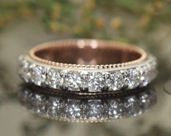 1.50ctw Diamond Eternity Band in 14k White Gold with 14k Rose Gold Beaded Milgrain, Prong Set, 4.3mm Wide, Infinity Ring, Two-Tone, Meghan