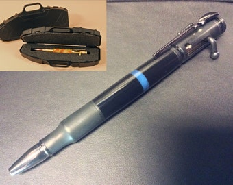 Thin Blue Line Law Enforcement Bolt Action Bullet Pen - 30 Caliber (Black) w/realistic rifle pen case