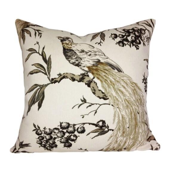 Duralee Winter Bird Tree Pillow Cover Throw Pillow Both