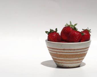 Hand made ceramic white striped bowl - individual or set of three