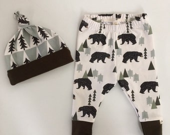 NEW! Bears in the Woods/Newborn Outfit/Bring Home Outfit/Infant Joggers/Olive Accent