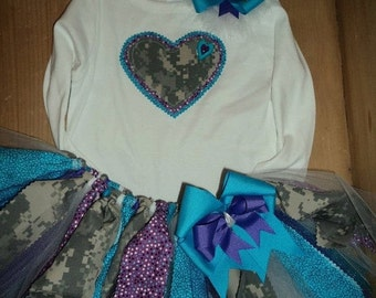 Turquoise, Purple, and Army ACU Camo Scrap Fabric Tutu Outfit
