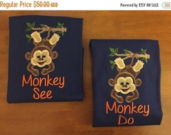Monkey See Monkey Do Sibling Shirt Set