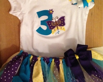 Turquoise, Purple, and Yellow Butterfly Birthday Tutu Outfit