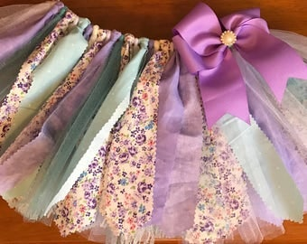 Lavender and Aqua Floral Scrap Fabric Tutu