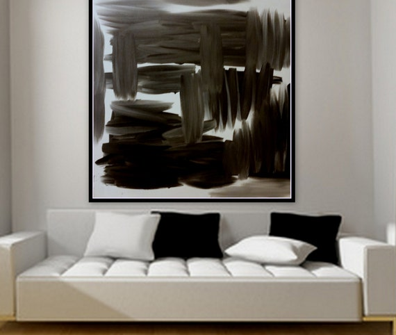 Black and white abstract original painting on canvas custom order in any color