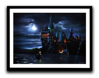 Harry Potter, Hogwarts, Art Print, Movie painting, Castle, Moonlight, Wall Art, Home decor, Fine Art print A3