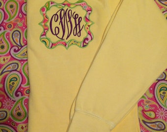 Comfort Colors Crewneck w/ Framed Monogram