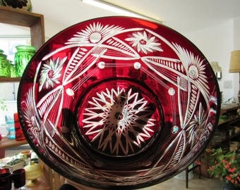 Vintage Red Glass Cut to Clear Bohemian Bowl