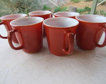 Set of 6 Burnt Orange Corell Milk Glass Coffee Mugs