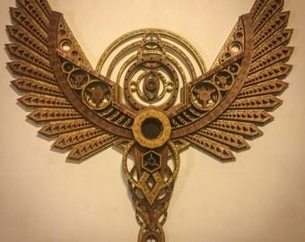 Divine Messenger Angel Wings Sacred Geometry Meditation Laser Cut Wood Art Symmetry Zodiac Eyes Energy Being