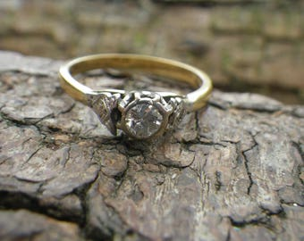 18ct Yellow and White Gold Diamond Solitaire Engagement Ring