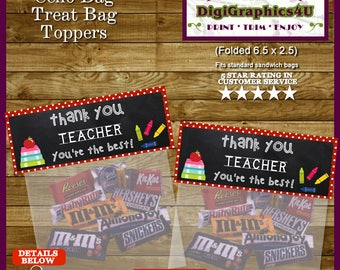 Teacher Appreciation Gift, Thank You Treat Bags, Party Favors - Printable File
