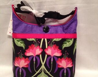 Junior Bag: Arresting pink flowers on a black background flower cotton print shoulder purse