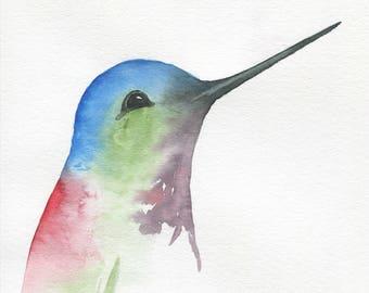 "ORIGINAL Watercolor Hummingbird, 8""x10"" Watercolor Sketch, Hummingbird Painting, Watercolor Bird Painting, Hummingbird Art"