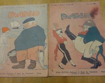 2 Antique Magazine 1921, Fantasio, French Satirical, Similar To English Punch Magazines.