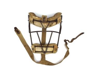 Antique Baseball Catchers Mask Primitive Leather Baseball Mask Old 1930s Baseball Catchers Mask