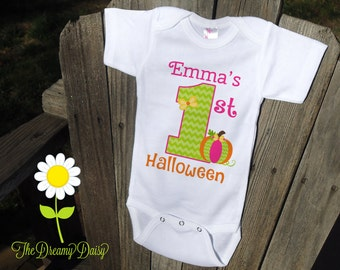Pumpkin Bodysuit for Girls - Personalized Pumpkin Outfit - 1st Halloween Bodysuit - Custom Baby Girl One Piece - 1st Halloween Girl Outfit
