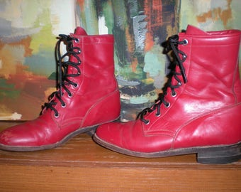 Women's Justin Red Lace Up Ropers Size 6B Kiltie Cowboy Steampunk Granny Boots