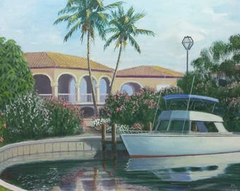 Old Vintage Artist Signed Florida Boat House Coastal Landscape Painting Mortland