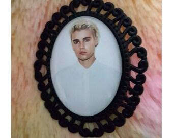 Justin Bieber Glass Cabochon Black Brooch Pin Pop Singer Handmade NEW