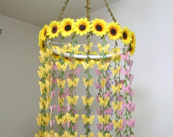 Flower Mobile,Nursery Baby Mobile,Hanging,Girl,Boy,Woodland,Silk Sunflower Wedding Chandelier,Crib mobile,Bridal Baby Shower decor,Yellow
