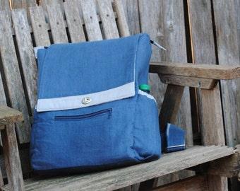 Backpack, Back to School Bag, Laptop Bag - Blue Linen